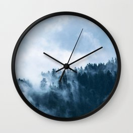 Atmospheric Fog over a Forest Wall Clock