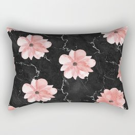 Romantic Pink Watercolor Flowers on Black Marble Rectangular Pillow