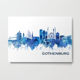 Gothenburg Sweden Skyline Blue Metal Print