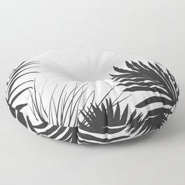 Black And White Palm Leaves Floor Pillow
