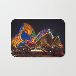 Designs projected on the roofs of Opera House. Bath Mat