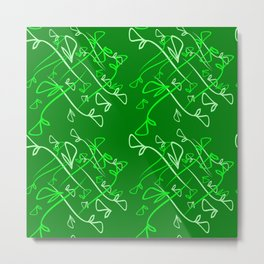 Pattern of plant mints and olive elements on a green background in a geometric style. Metal Print