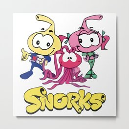 Swim along Snorks Cast Tribute Metal Print