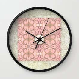 Monogrammed Letter T Scroll Swirl Modern Pattern in Pink Wall Clock