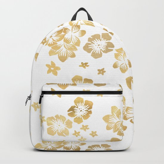 Gold Tropical Flowers Backpack