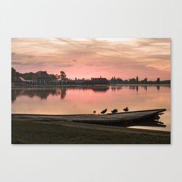 Birds on the pier, Lake Palic, Serbia / Silhouette / Sunrise Canvas Print