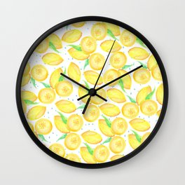Sunshine yellow orange blue watercolor lemon fruit pattern Wall Clock