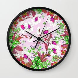 Elegant white Sunflowers and Pink floral garland Wall Clock