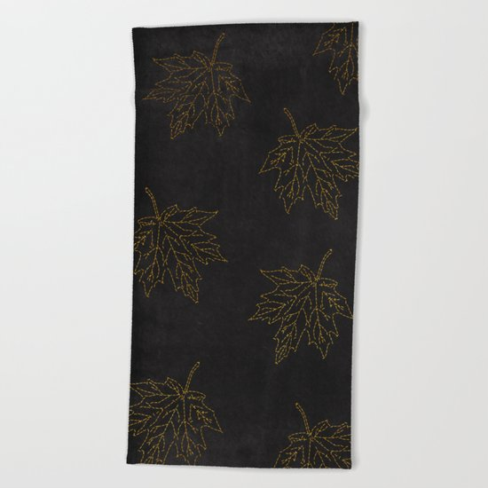 Autumn-world 3 - gold leaves on black chalkboard Beach Towel