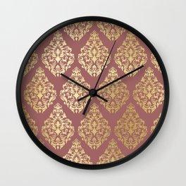 Burgundy rose gold elegant damasque Wall Clock