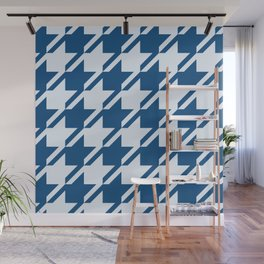 Classic Blue digital houndstooth pattern Wall Mural