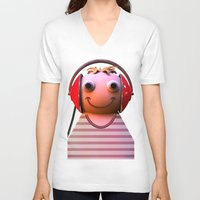 headphones V-neck T-shirts featuring Headphones by Aguinaldo Goncalves