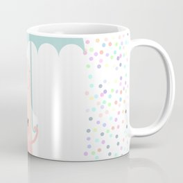 pink ice cream, ice lolly holding an umbrella. Kawaii with pink cheeks and winking eyes Coffee Mug
