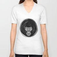 gorilla V-neck T-shirts featuring Gorilla  by dchristo