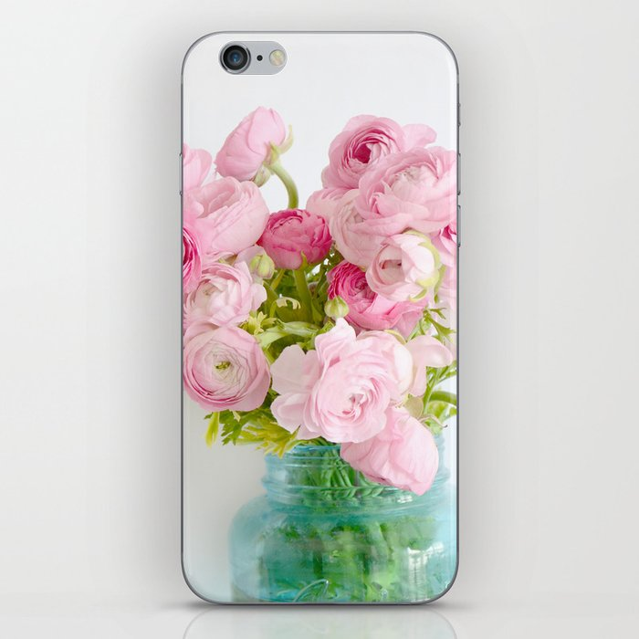 Dreamy Shabby Chic Ranunculus Peonies Roses Print - Spring Summer Garden Flowers Mason Jar iPhone Skin