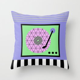 Play That Retro Geometric Vinyl Throw Pillow
