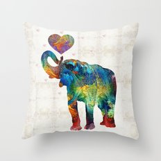 Colorful Elephant Art - Elovephant - By Sharon Cummings Throw Pillow