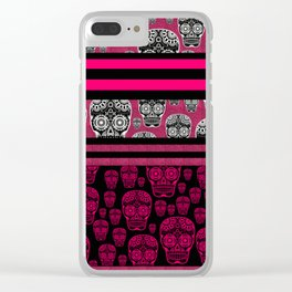 Pink Sugar Skulls And Stripes Clear iPhone Case