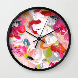 Dream flowers in pink rose floral abstract art Wall Clock