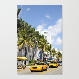 Yellow Cabs On Ocean Drive Canvas Print