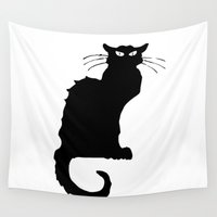 stark Wall Tapestries featuring Le Chat Noir {Black Cat} on Stark White Background by Bohemian Bear by Kristi Duggins