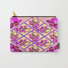 Purple-Fuchsia Orchid Flowers Pink-Yellow Asian Style Pattern Carry-All Pouch