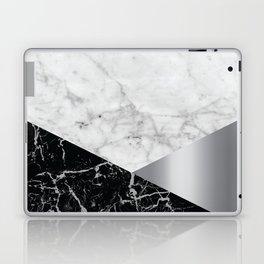 White Marble - Black Granite & Silver #230 Laptop & iPad Skin