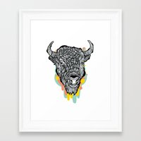 bison Framed Art Prints featuring Bison by casiegraphics