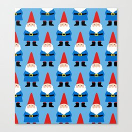Gnome Repeat in Blue Canvas Print