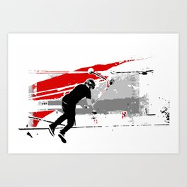 Spinning the Deck - Tail-whip Scooter Stunt Art Print