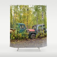 jeep Shower Curtains featuring Permanent Fixtures by Alaskan Momma Bear