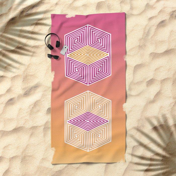 Geometric lines Beach Towel
