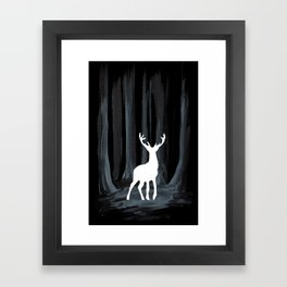 Glowing White Stag Framed Art Print