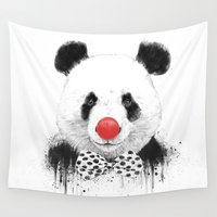 clown Wall Tapestries featuring Clown panda by Balazs Solti