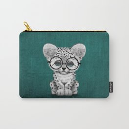 Cute Snow Leopard Cub Wearing Glasses on Teal Blue Carry-All Pouch