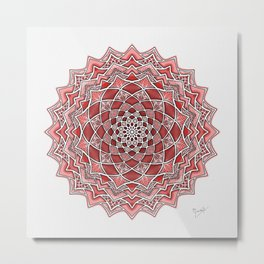 12-Fold Mandala Flower in Red Metal Print