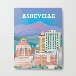 Asheville, North Carolina - Skyline Illustration by Loose Petals Metal Print