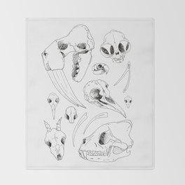 Black and White Hand Drawn Animal Skulls Print Throw Blanket