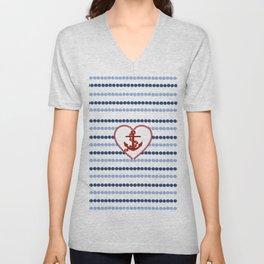 Modern navy blue nautical red heart anchor polka dots stripes Unisex V-Neck