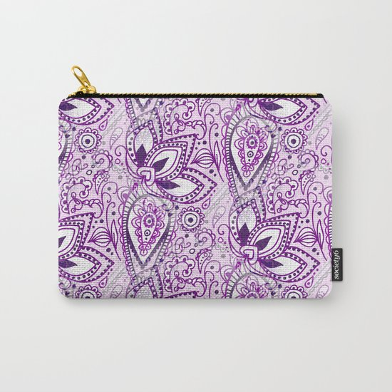 Boho Purple Paisley Doodle Carry-All Pouch