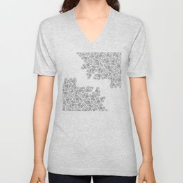 Comtemporary Abstract Leaves Grey Pattern Unisex V-Neck
