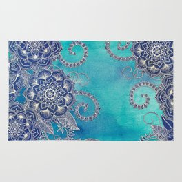 Mermaid's Garden - Navy & Teal Floral on Watercolor Rug