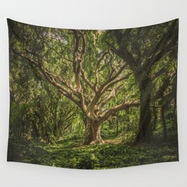 Old Green Tree Wall Tapestry