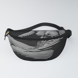 0070-DJA Zebra Seated Nude Woman Yoga Black White Abstract Curves Expressive Line Slim Fit Girl Fanny Pack