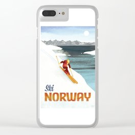 Ski Norway Vintage Travel Poster Clear iPhone Case