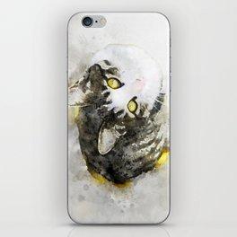 Cute Tabby Cat Watercolor iPhone Skin