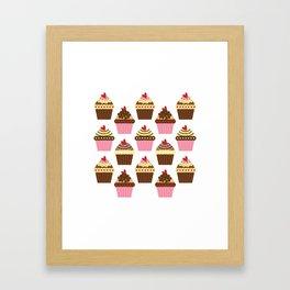 Cupcake Love Pattern Framed Art Print