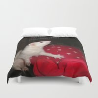 ferret Duvet Covers featuring The Ivory Ferret and the Starry Red Bouncy House by Distortion Art