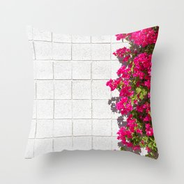 Bougainvilleas and White Brick Wall in Palm Springs, California Throw Pillow