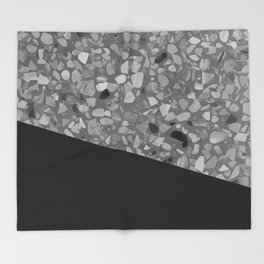 Terrazzo Texture Grey Black #7 Throw Blanket
